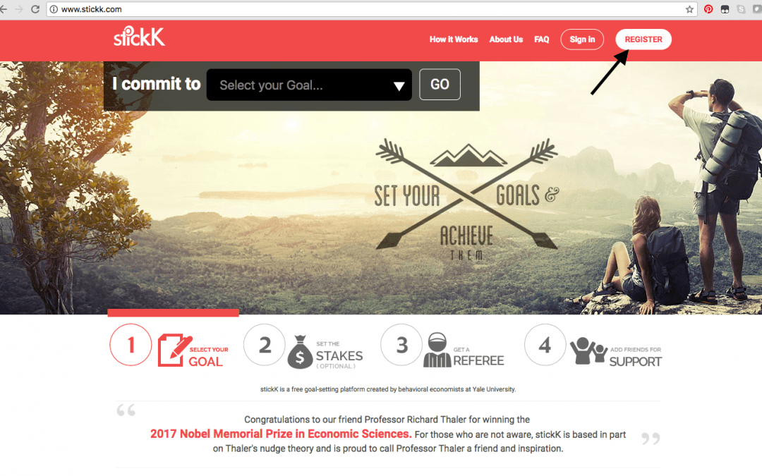 Registering for Stickk.com